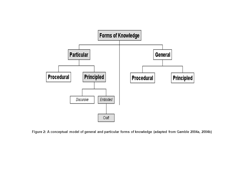 Figure 2: A conceptual model of general and particular forms of knowledge (adapted from Gamble 2004a, 2004b)
