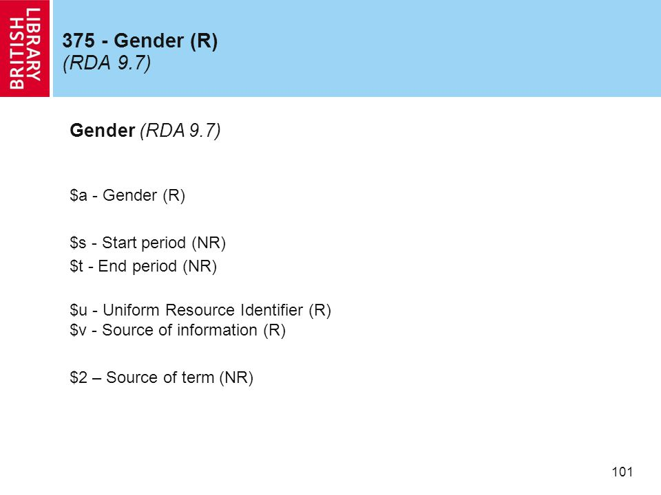 101 375 - Gender (R) (RDA 9.7) Gender (RDA 9.7) $a - Gender (R) $s - Start period (NR) $t - End period (NR) $u - Uniform Resource Identifier (R) $v - Source of information (R) $2 – Source of term (NR)