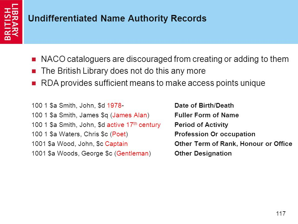 117 Undifferentiated Name Authority Records NACO cataloguers are discouraged from creating or adding to them The British Library does not do this any