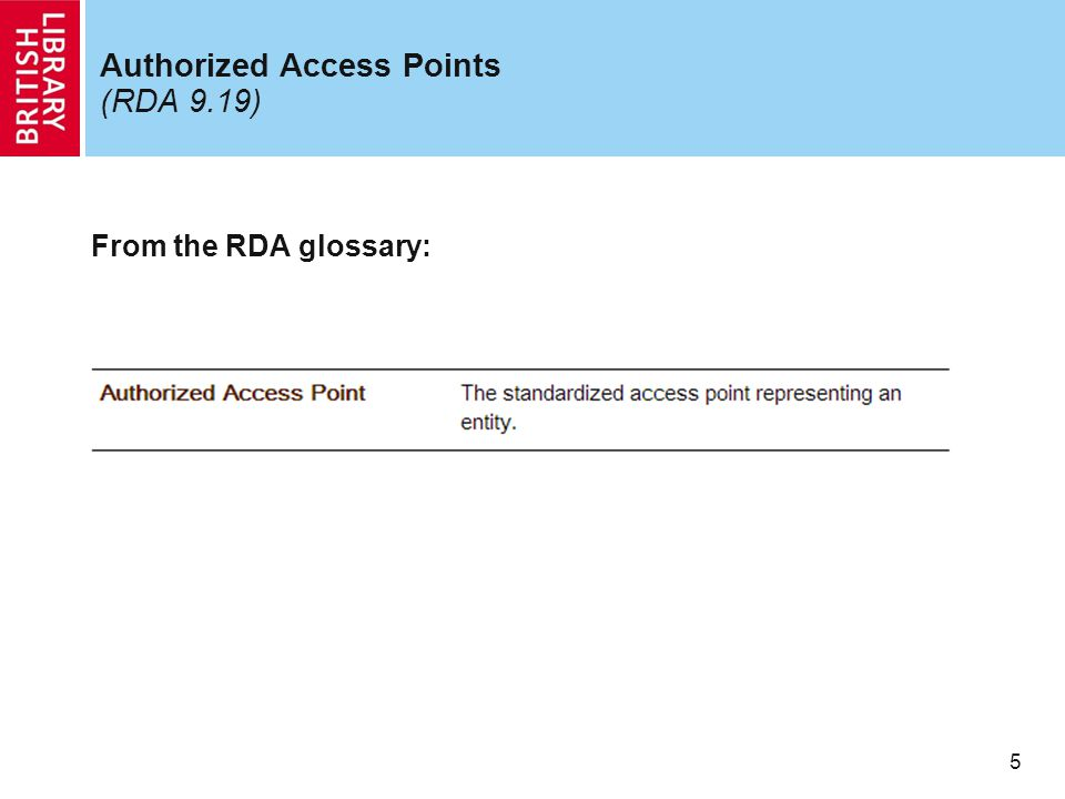 5 Authorized Access Points (RDA 9.19) From the RDA glossary: