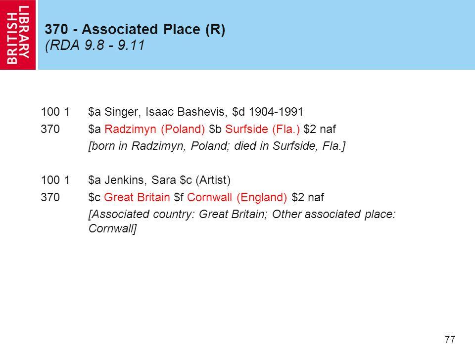 77 370 - Associated Place (R) (RDA 9.8 - 9.11 100 1$a Singer, Isaac Bashevis, $d 1904-1991 370$a Radzimyn (Poland) $b Surfside (Fla.) $2 naf [born in Radzimyn, Poland; died in Surfside, Fla.] 100 1$a Jenkins, Sara $c (Artist) 370$c Great Britain $f Cornwall (England) $2 naf [Associated country: Great Britain; Other associated place: Cornwall]