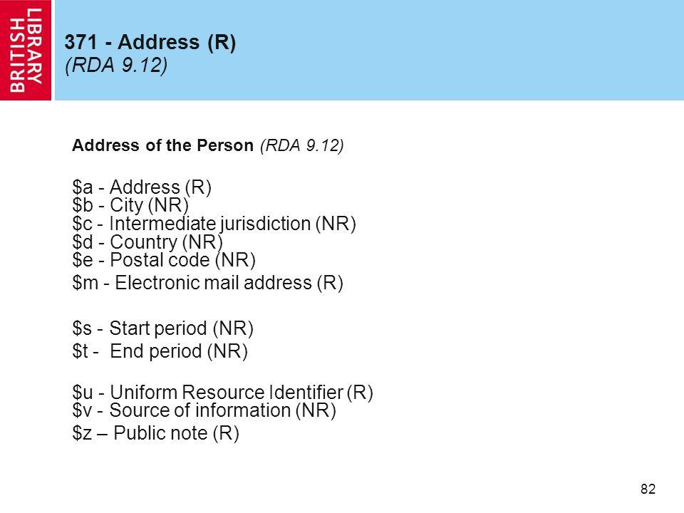 82 371 - Address (R) (RDA 9.12) Address of the Person (RDA 9.12) $a - Address (R) $b - City (NR) $c - Intermediate jurisdiction (NR) $d - Country (NR) $e - Postal code (NR) $m - Electronic mail address (R) $s - Start period (NR) $t - End period (NR) $u - Uniform Resource Identifier (R) $v - Source of information (NR) $z – Public note (R)