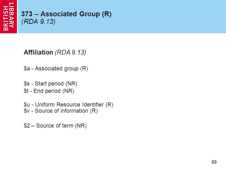 89 373 – Associated Group (R) (RDA 9.13) Affiliation (RDA 9.13) $a - Associated group (R) $s - Start period (NR) $t - End period (NR) $u - Uniform Resource Identifier (R) $v - Source of information (R) $2 – Source of term (NR)
