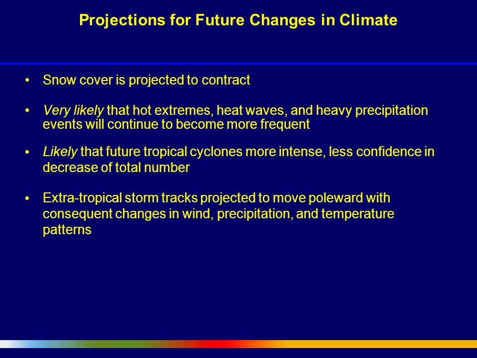 Snow cover is projected to contract Very likely that hot extremes, heat waves, and heavy precipitation events will continue to become more frequent Likely that future tropical cyclones more intense, less confidence in decrease of total number Extra-tropical storm tracks projected to move poleward with consequent changes in wind, precipitation, and temperature patterns Projections for Future Changes in Climate