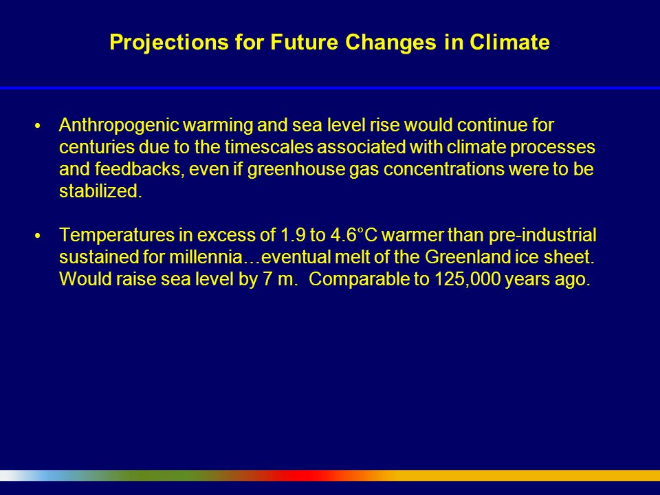 Anthropogenic warming and sea level rise would continue for centuries due to the timescales associated with climate processes and feedbacks, even if greenhouse gas concentrations were to be stabilized.