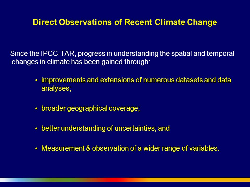 Direct Observations of Recent Climate Change Since the IPCC-TAR, progress in understanding the spatial and temporal changes in climate has been gained through: improvements and extensions of numerous datasets and data analyses; improvements and extensions of numerous datasets and data analyses; broader geographical coverage; broader geographical coverage; better understanding of uncertainties; and better understanding of uncertainties; and Measurement & observation of a wider range of variables.