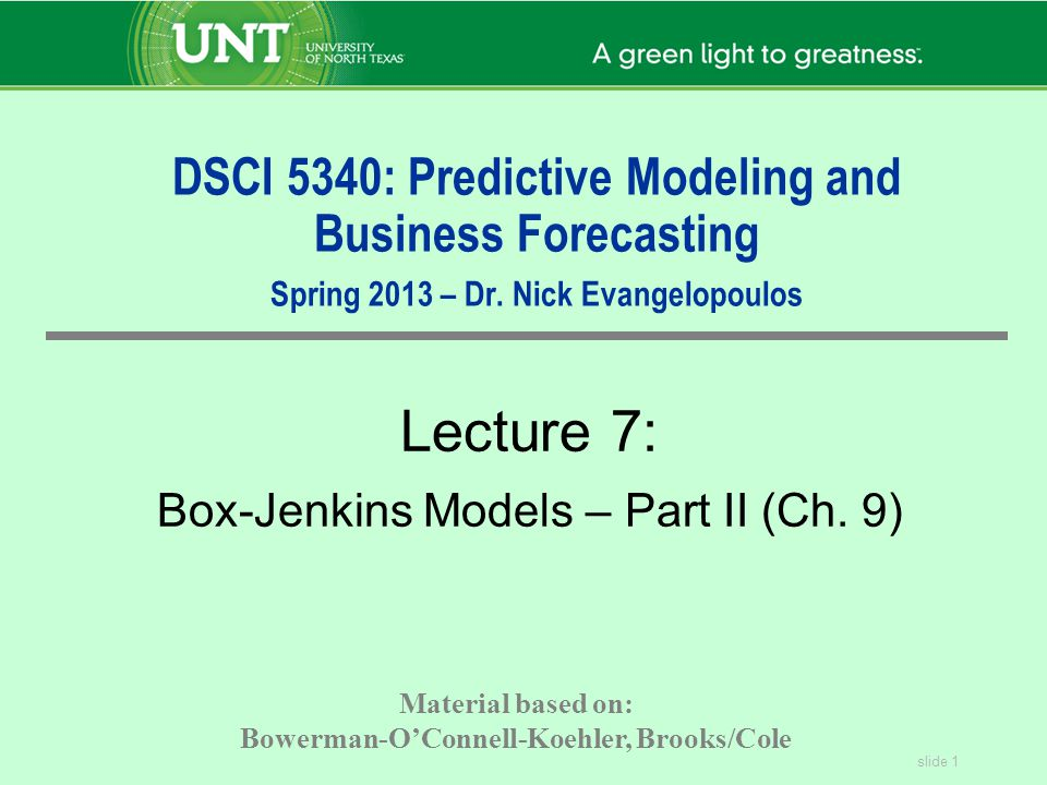 slide 2 DSCI 5340 FORECASTING Page 438 Ex 9.2, Ex 9.3, Ex 9.4 Homework in Textbook