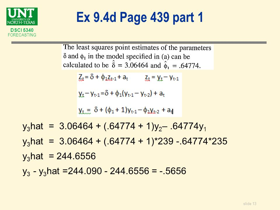 slide 13 DSCI 5340 FORECASTING Ex 9.4d Page 439 part 1 y 3 hat = 3.06464 + (.64774 + 1)y 2 –.64774y 1 y 3 hat = 3.06464 + (.64774 + 1)*239 -.64774*235 y 3 hat = 244.6556 y 3 - y 3 hat =244.090 - 244.6556 = -.5656