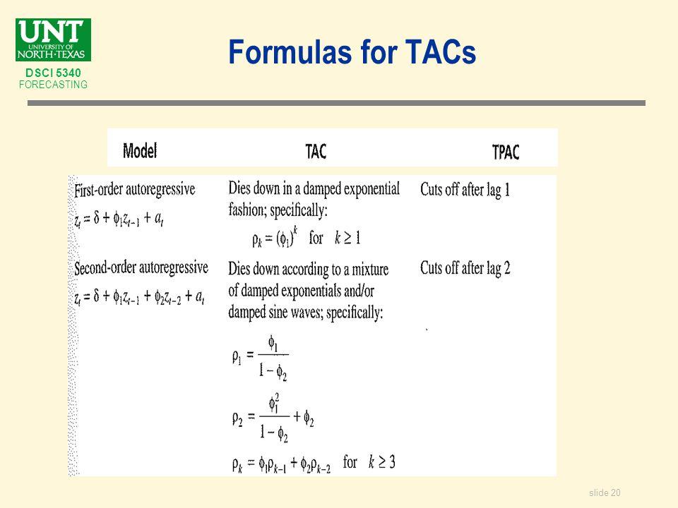 slide 20 DSCI 5340 FORECASTING Formulas for TACs