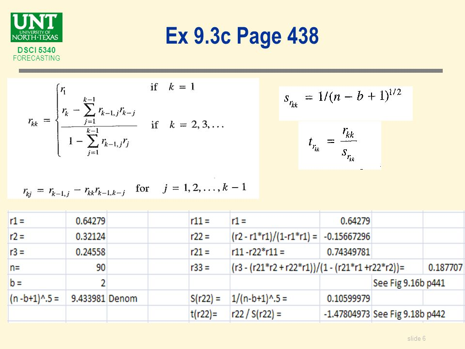 slide 37 DSCI 5340 FORECASTING ADF – Augmented Dickey Fuller Test for Unit Root proc arima data = TowelSales; identify var = y( 1) nlag=15 stationarity = (adf = (2)); title ARIMA Stationarity Analysis ; run; Type Lags Rho Pr F Zero Mean 2 -112.754 0.0001 -6.09 <.0001 Single Mean 2 -112.743 0.0001 -6.07 <.0001 18.40 0.0010 Trend 2 -120.735 0.0001 -6.18 <.0001 19.12 0.0010 Reject unit root – conclude AR(2) is stationary.