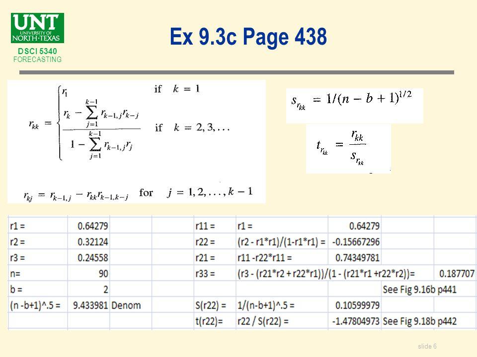 slide 6 DSCI 5340 FORECASTING Ex 9.3c Page 438