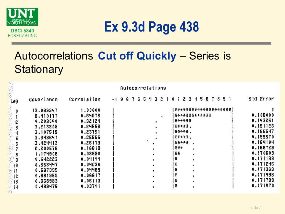 slide 8 DSCI 5340 FORECASTING Ex 9.3e Page 438 Interpret SAC & SPAC