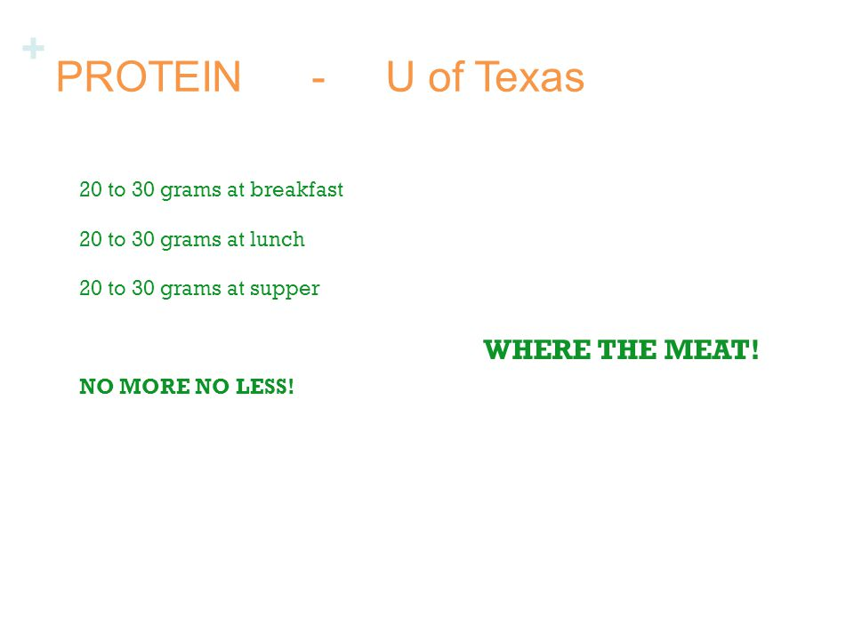 + PROTEIN- U of Texas 20 to 30 grams at breakfast 20 to 30 grams at lunch 20 to 30 grams at supper NO MORE NO LESS.