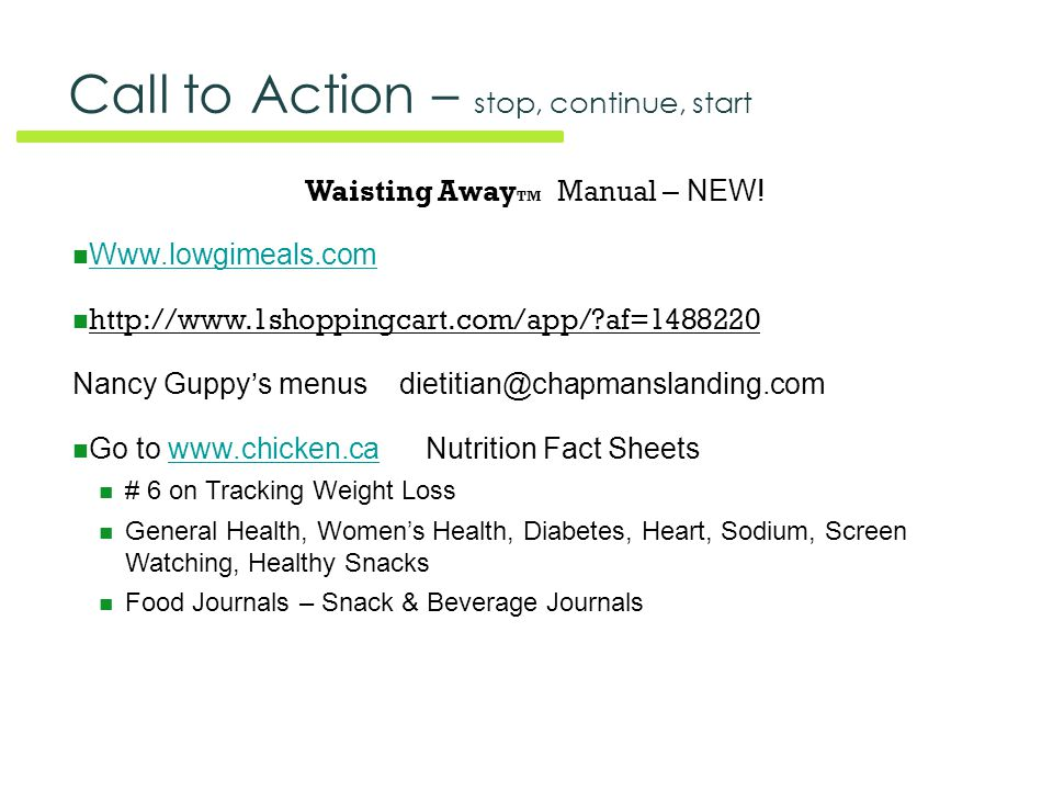 Call to Action – stop, continue, start Waisting Away TM Manual – NEW.