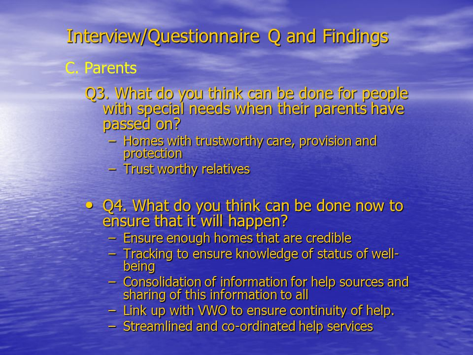 Interview/Questionnaire Q and Findings Q3.