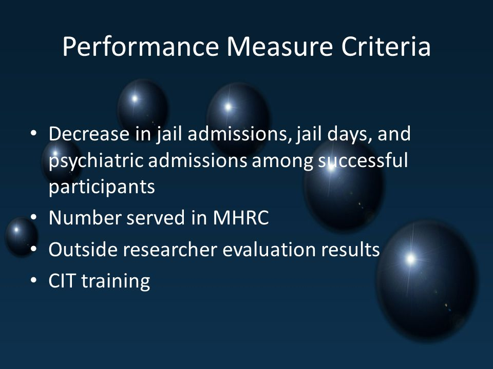 Performance Measure Criteria Decrease in jail admissions, jail days, and psychiatric admissions among successful participants Number served in MHRC Outside researcher evaluation results CIT training