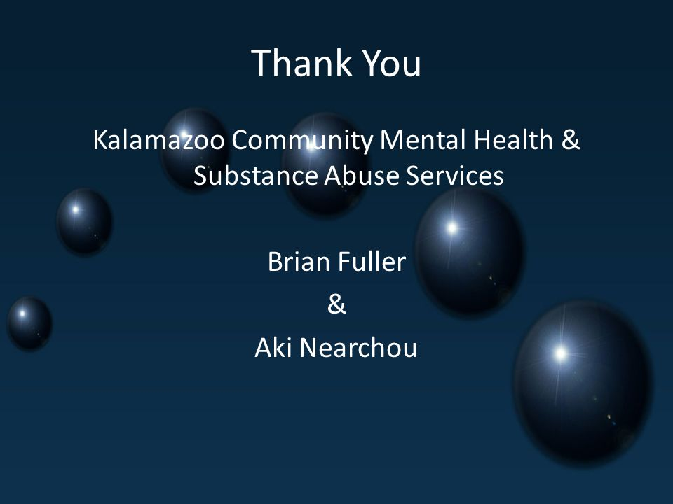 Thank You Kalamazoo Community Mental Health & Substance Abuse Services Brian Fuller & Aki Nearchou