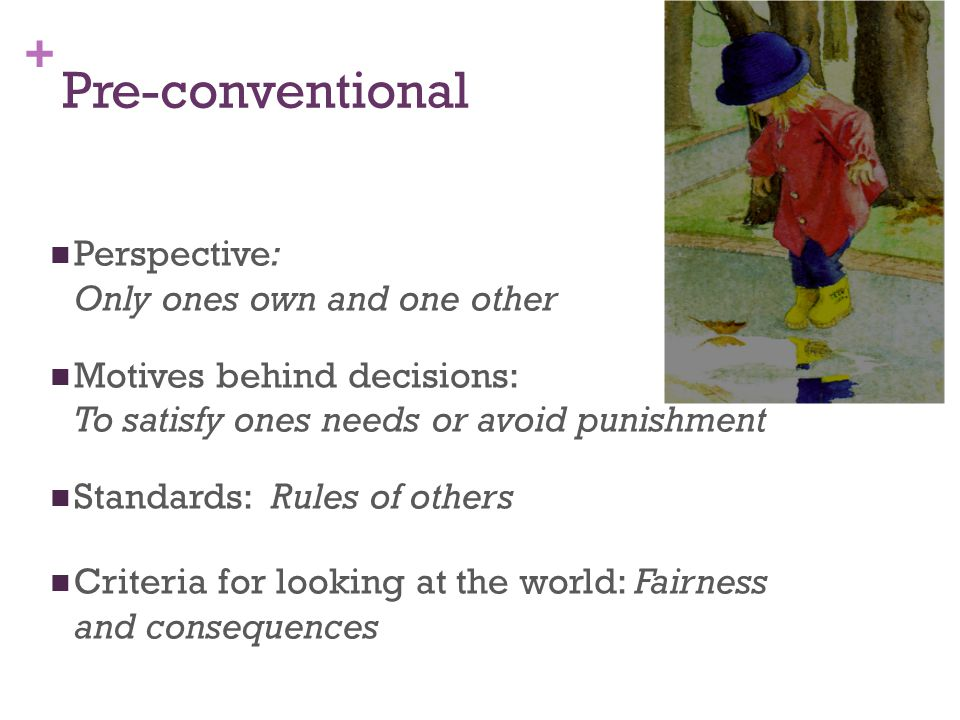 + Conventional Perspective: The group Motives behind their decisions: To receive approval from others, and the group laws Standards: Group rules or the common social laws Criteria for looking at the world: Others expectations and compliance with others