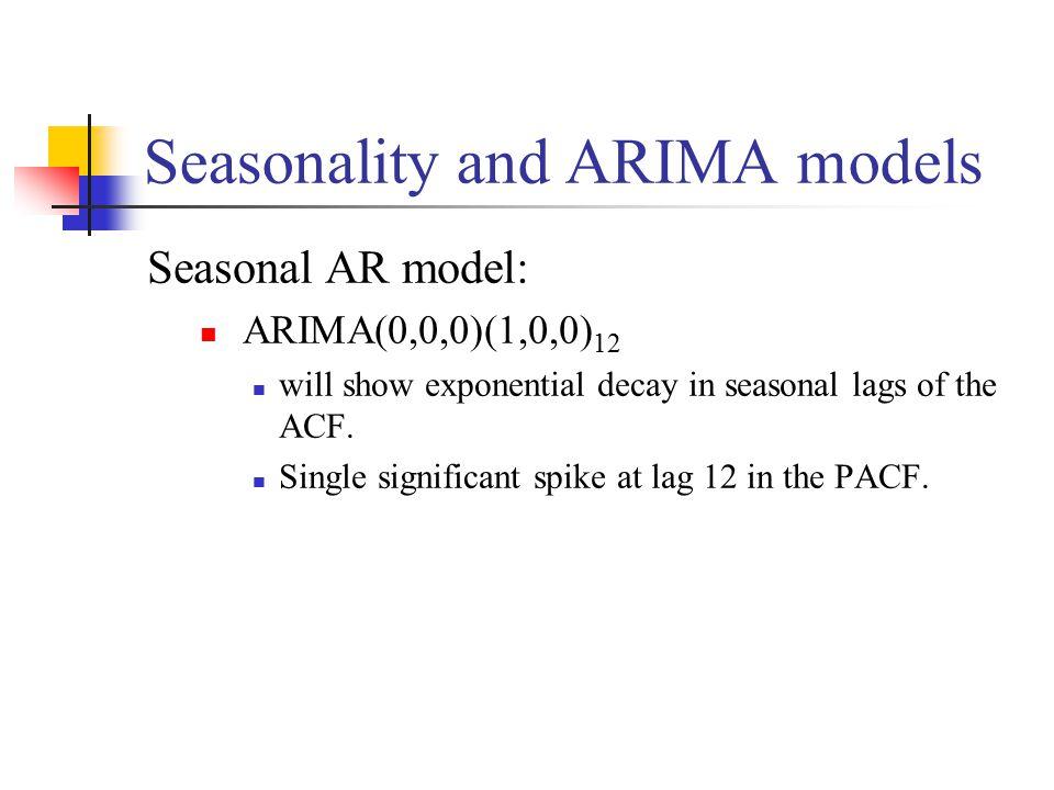 Seasonality and ARIMA models Seasonal AR model: ARIMA(0,0,0)(1,0,0) 12 will show exponential decay in seasonal lags of the ACF.