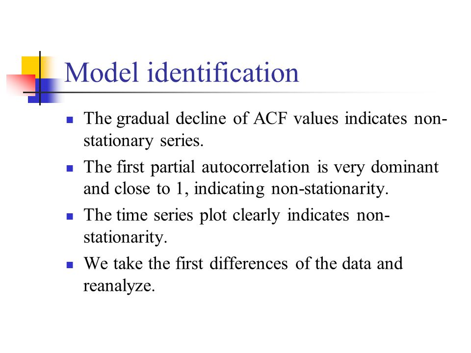 The gradual decline of ACF values indicates non- stationary series. The first partial autocorrelation is very dominant and close to 1, indicating non-