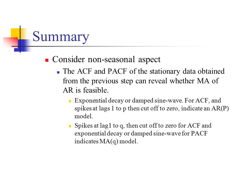 Summary Consider non-seasonal aspect The ACF and PACF of the stationary data obtained from the previous step can reveal whether MA of AR is feasible.