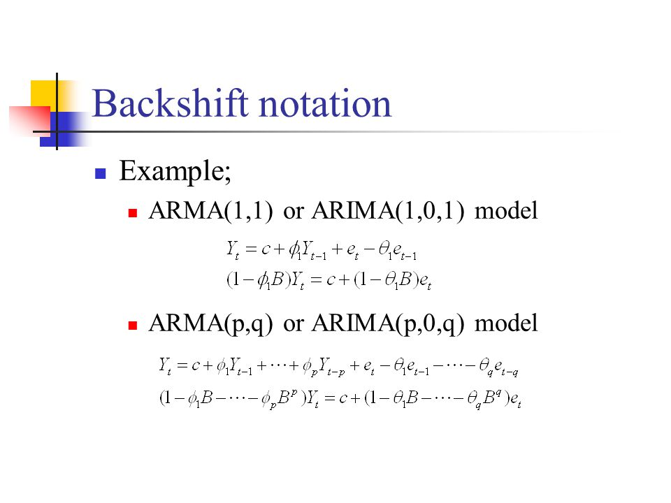 Backshift notation Example; ARMA(1,1) or ARIMA(1,0,1) model ARMA(p,q) or ARIMA(p,0,q) model