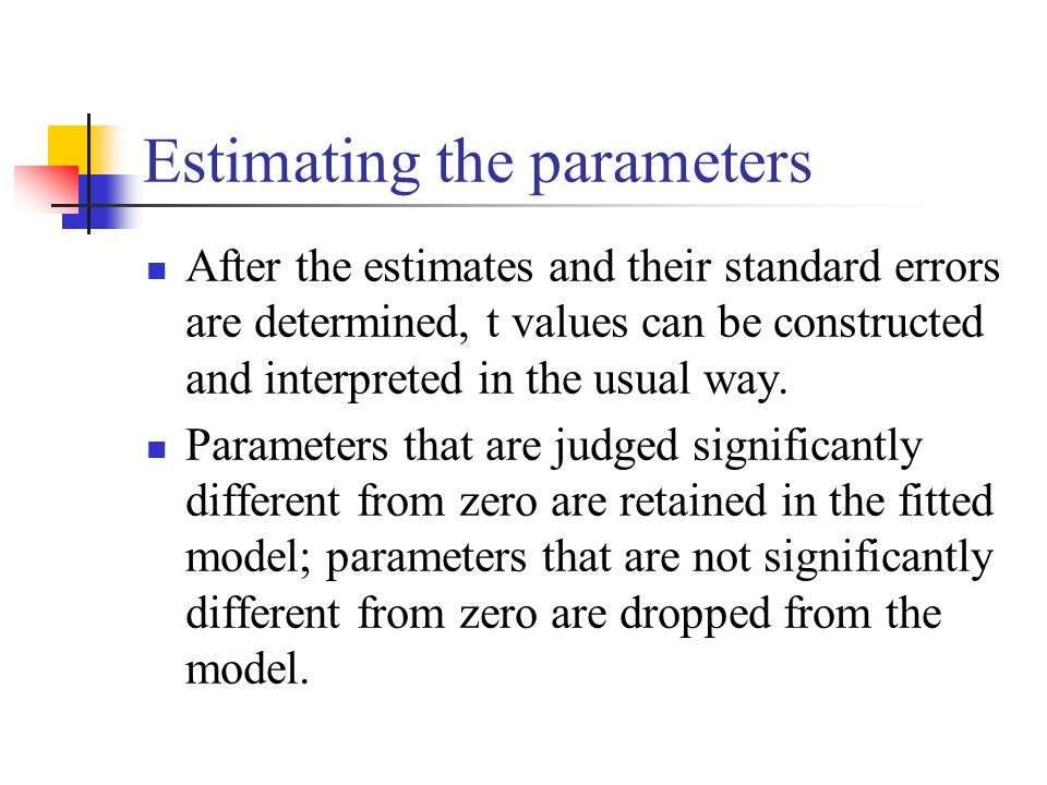 Estimating the parameters After the estimates and their standard errors are determined, t values can be constructed and interpreted in the usual way.