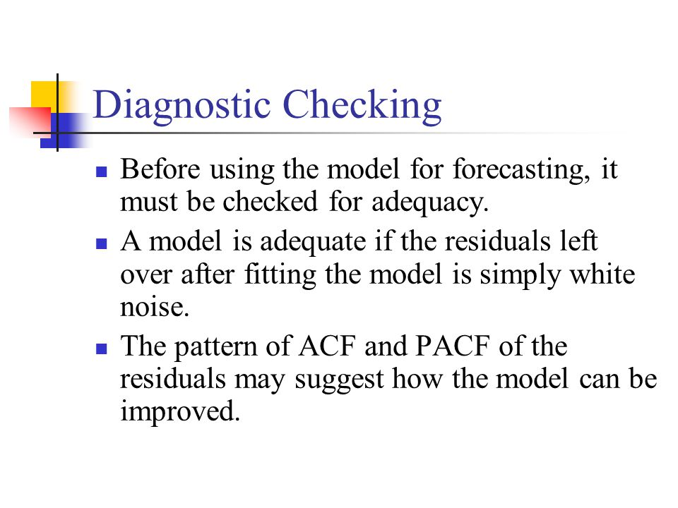 Diagnostic Checking Before using the model for forecasting, it must be checked for adequacy.