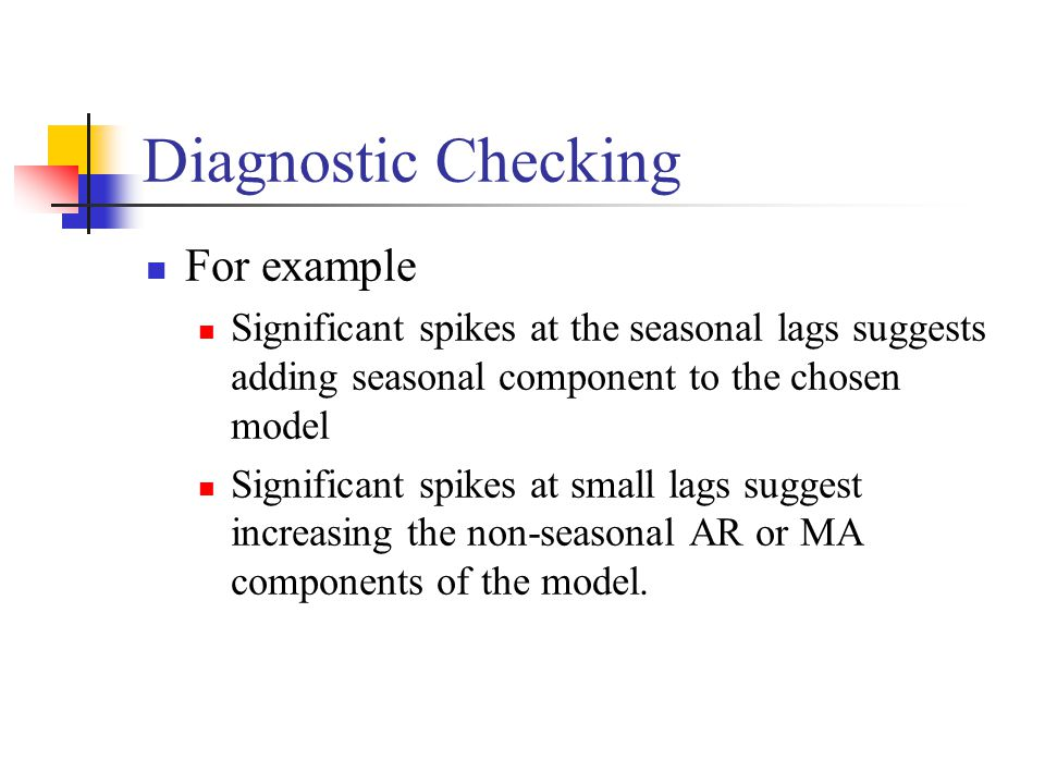 Diagnostic Checking For example Significant spikes at the seasonal lags suggests adding seasonal component to the chosen model Significant spikes at small lags suggest increasing the non-seasonal AR or MA components of the model.
