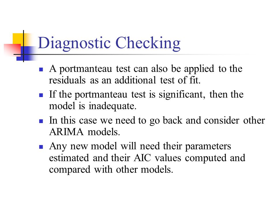 Diagnostic Checking A portmanteau test can also be applied to the residuals as an additional test of fit.