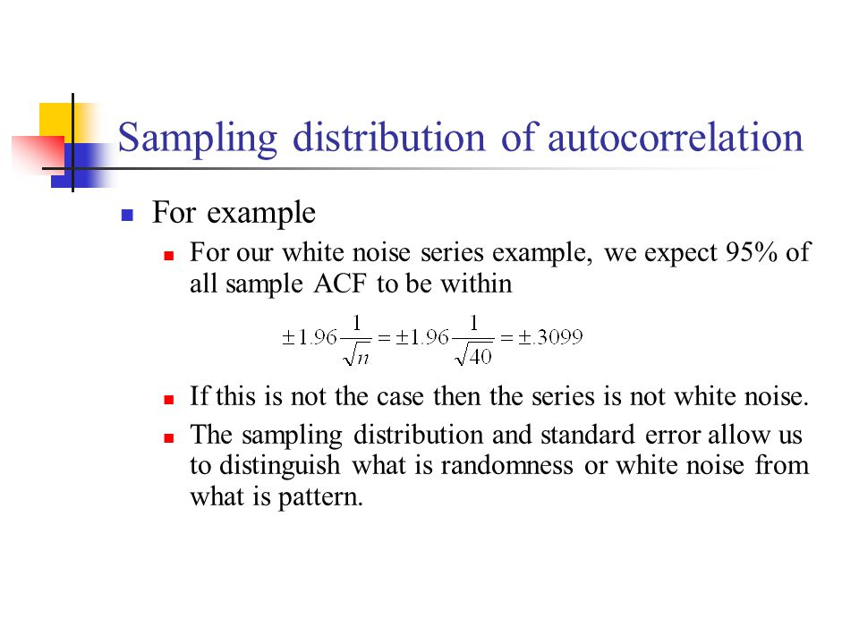 Sampling distribution of autocorrelation For example For our white noise series example, we expect 95% of all sample ACF to be within If this is not t