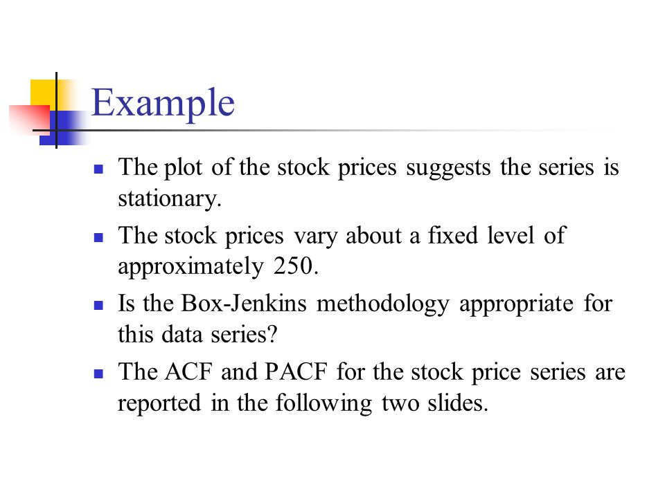 The plot of the stock prices suggests the series is stationary. The stock prices vary about a fixed level of approximately 250. Is the Box-Jenkins met