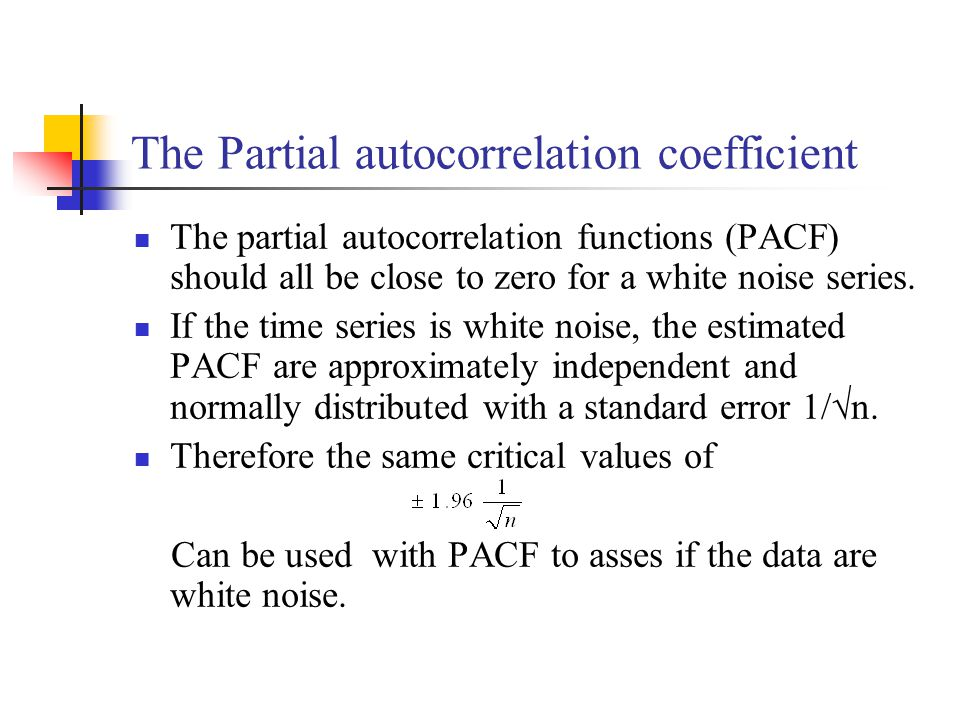 The Partial autocorrelation coefficient The partial autocorrelation functions (PACF) should all be close to zero for a white noise series.