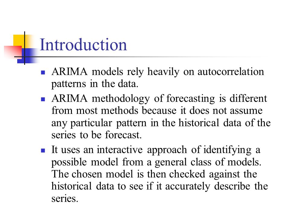 Introduction ARIMA models rely heavily on autocorrelation patterns in the data.