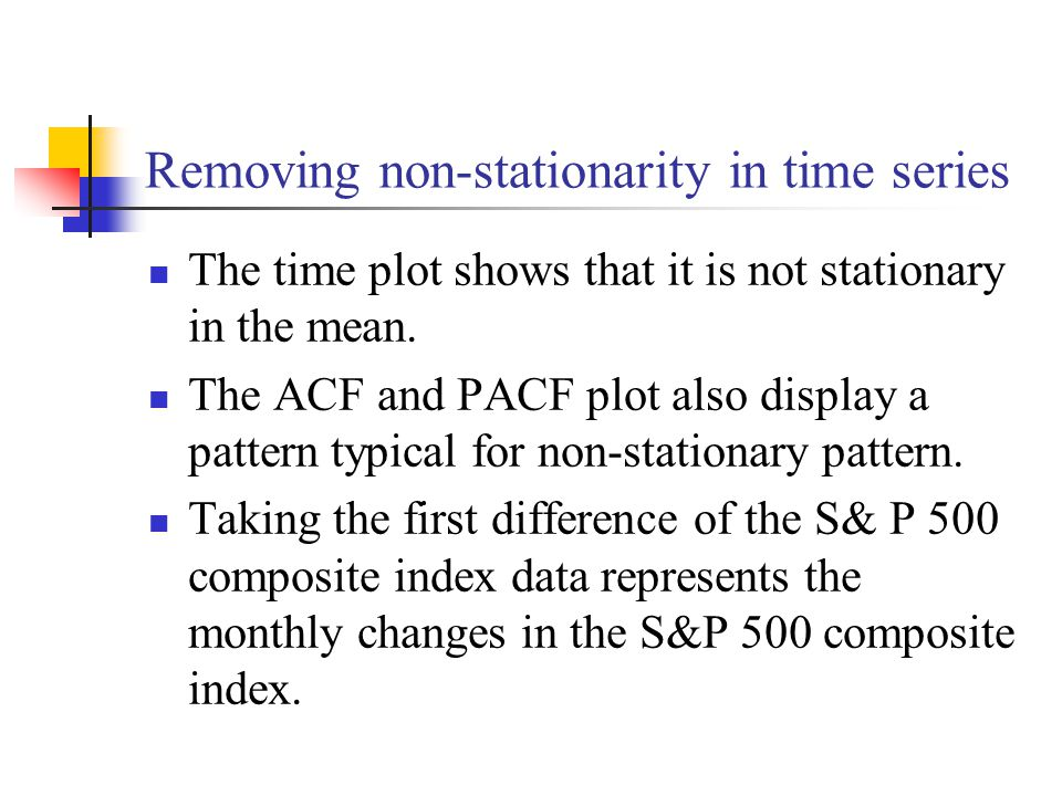 The time plot shows that it is not stationary in the mean.