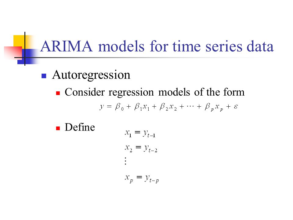 ARIMA models for time series data Autoregression Consider regression models of the form Define
