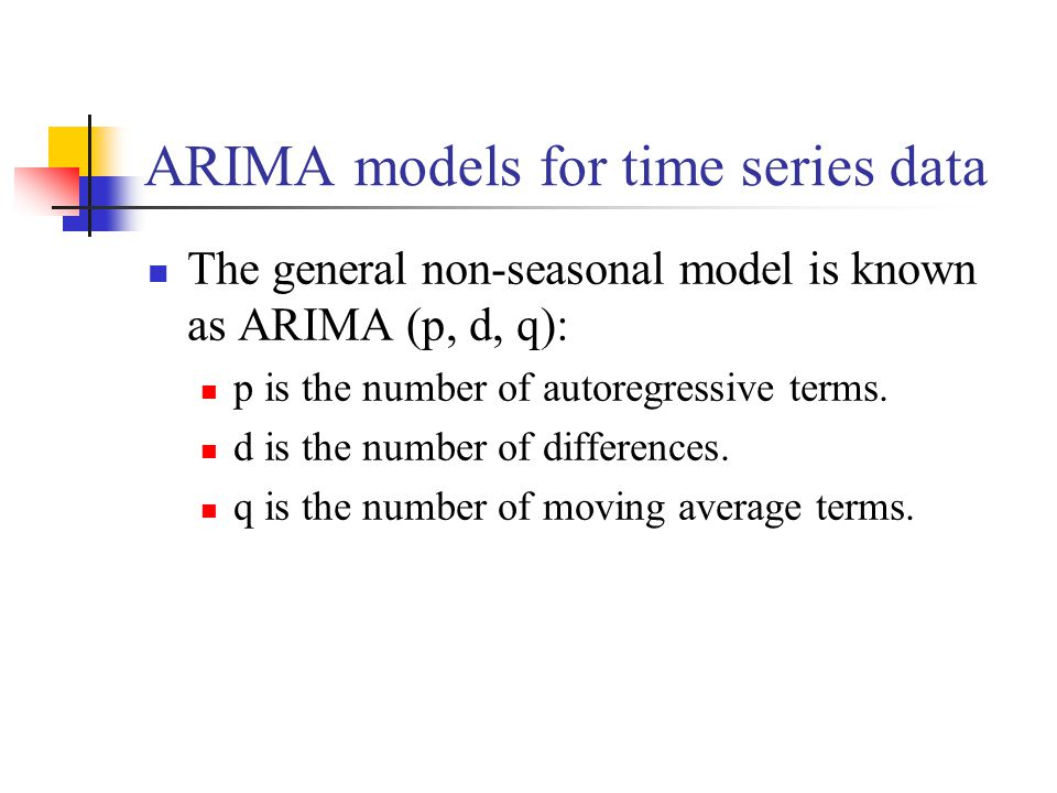 ARIMA models for time series data The general non-seasonal model is known as ARIMA (p, d, q): p is the number of autoregressive terms. d is the number
