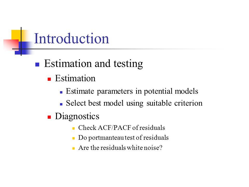 Introduction Estimation and testing Estimation Estimate parameters in potential models Select best model using suitable criterion Diagnostics Check ACF/PACF of residuals Do portmanteau test of residuals Are the residuals white noise?