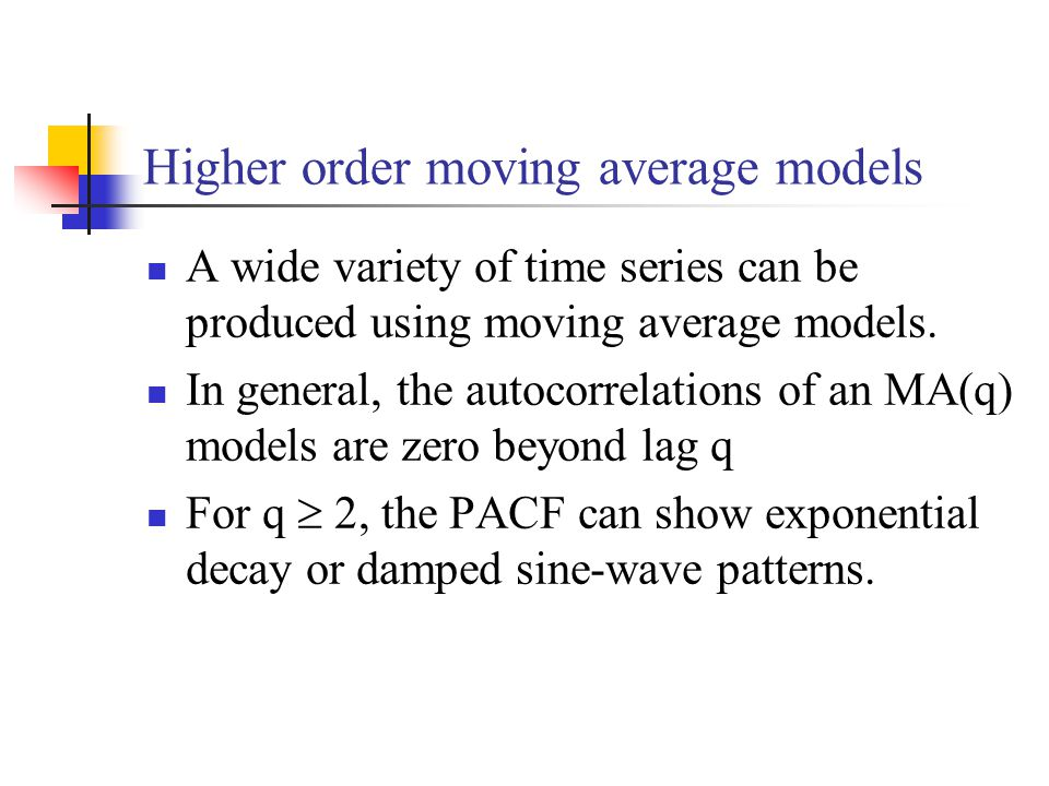 Higher order moving average models A wide variety of time series can be produced using moving average models.