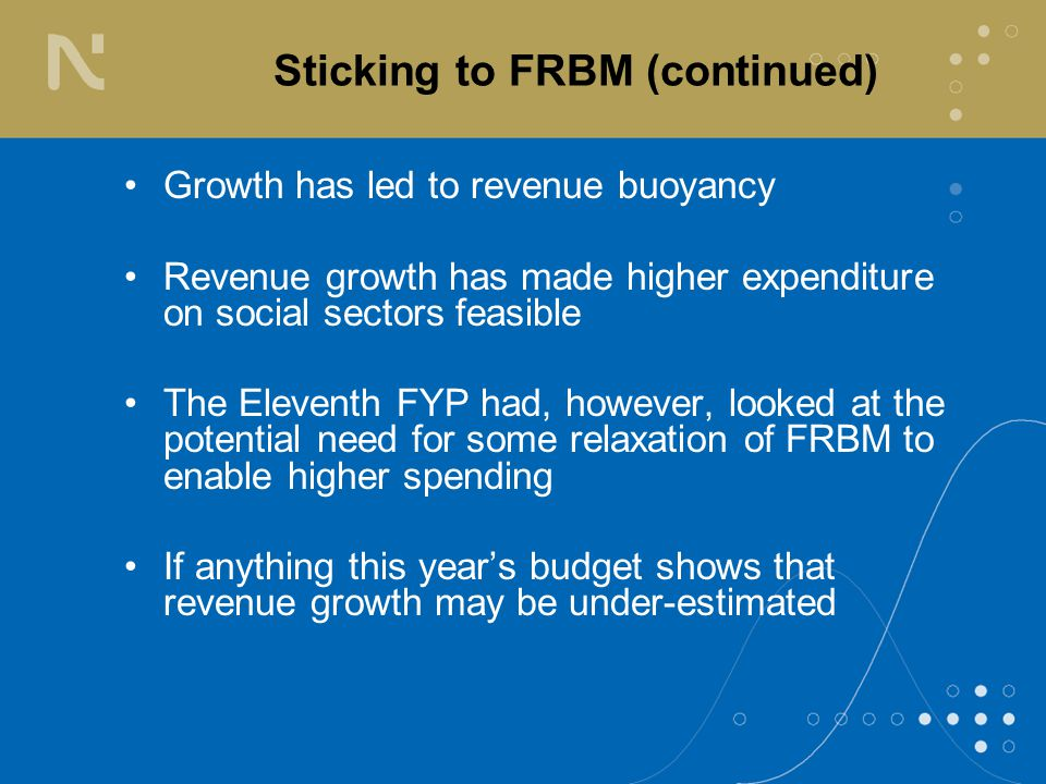 Sticking to FRBM (continued) Growth has led to revenue buoyancy Revenue growth has made higher expenditure on social sectors feasible The Eleventh FYP had, however, looked at the potential need for some relaxation of FRBM to enable higher spending If anything this year's budget shows that revenue growth may be under-estimated