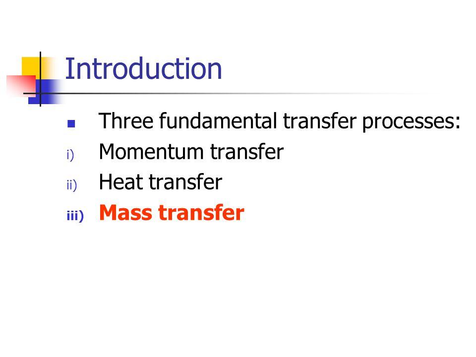 Introduction Three fundamental transfer processes: i) Momentum transfer ii) Heat transfer iii) Mass transfer