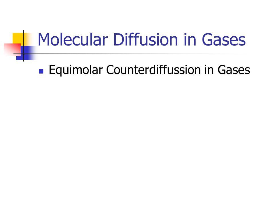 Molecular Diffusion in Gases Equimolar Counterdiffussion in Gases
