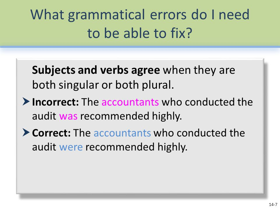 What grammatical errors do I need to be able to fix.