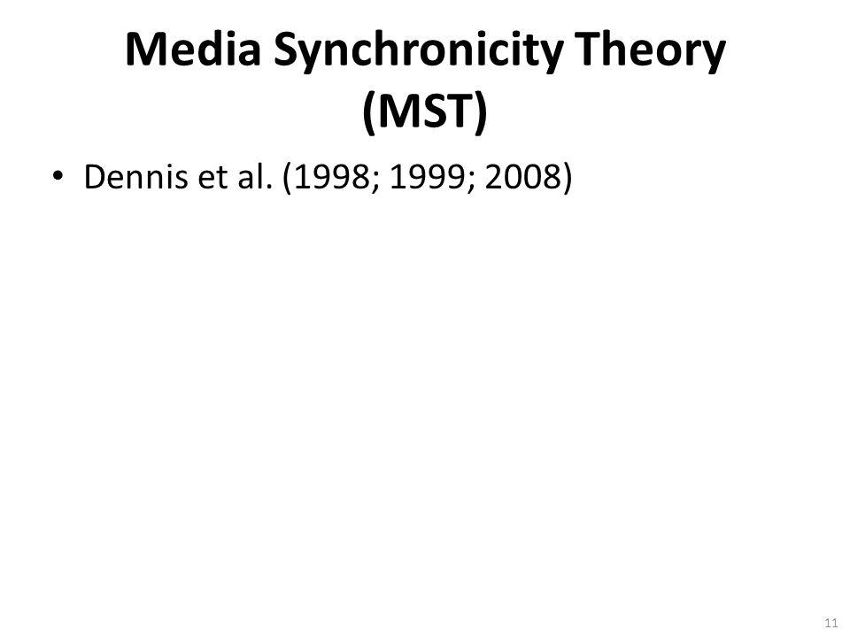 Media Synchronicity Theory (MST) Dennis et al. (1998; 1999; 2008) 11