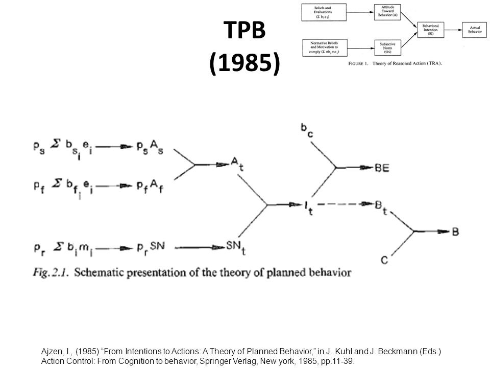TPB (1985) Ajzen, I., (1985) From Intentions to Actions: A Theory of Planned Behavior, in J.