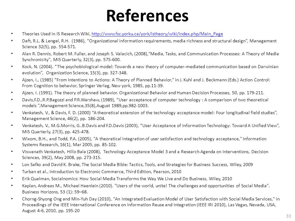 References Theories Used in IS Research Wiki, http://www.fsc.yorku.ca/york/istheory/wiki/index.php/Main_Pagehttp://www.fsc.yorku.ca/york/istheory/wiki/index.php/Main_Page Daft, R.L.