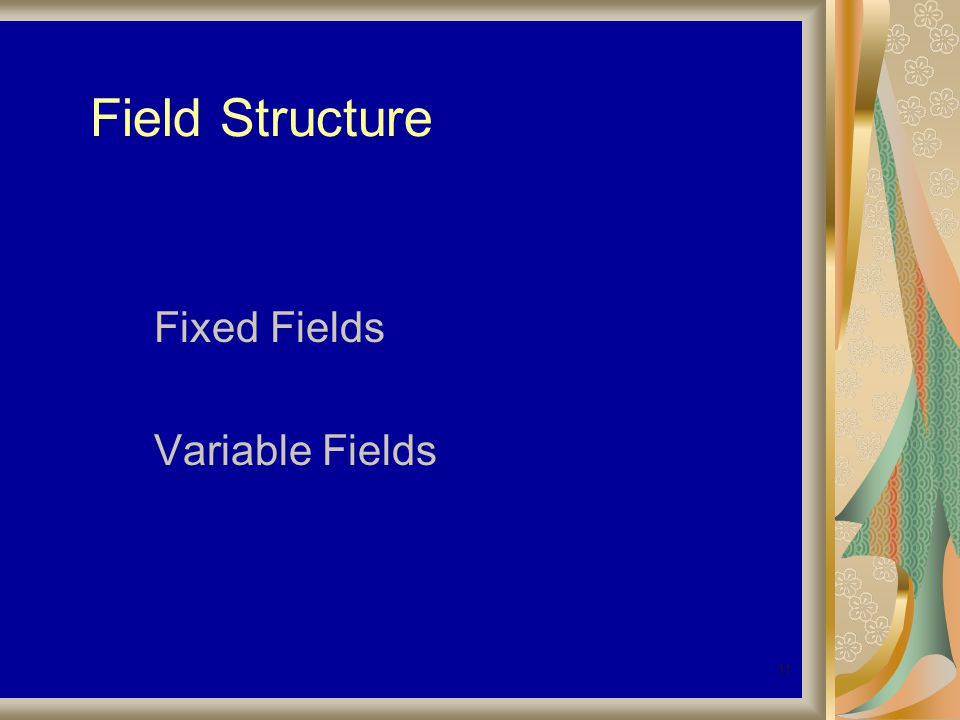11 Field Structure Fixed Fields Variable Fields