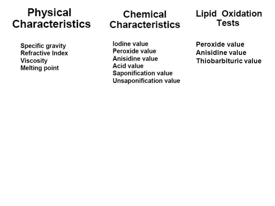 Peroxide value Anisidine value Thiobarbituric value