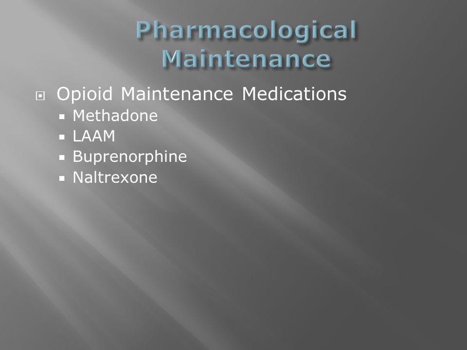  Opioid Maintenance Medications  Methadone  LAAM  Buprenorphine  Naltrexone