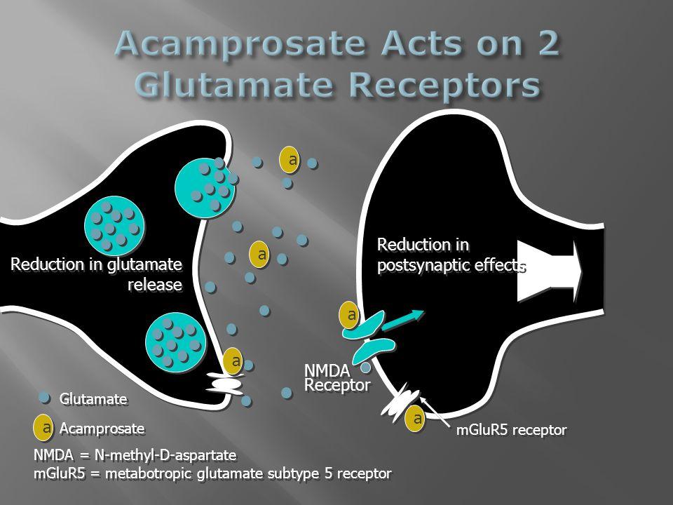 Glutamate a a Acamprosate NMDA Receptor NMDA Receptor Reduction in glutamate release Reduction in postsynaptic effects mGluR5 receptor a a a a a a a a a a NMDA = N-methyl-D-aspartate mGluR5 = metabotropic glutamate subtype 5 receptor NMDA = N-methyl-D-aspartate mGluR5 = metabotropic glutamate subtype 5 receptor